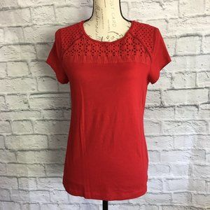Croft & Barrow Red Top with Eyelet Lace Size M